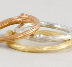 Stacking Ring Set  -   Three in Multi Color Twig Branches in Eco-Friendly gold
