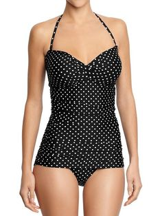 Old Navy Womens Polka Dot Control Max Bandeau Swimsuits