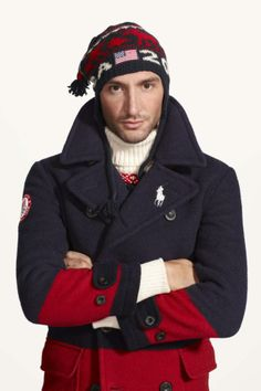 U.S. Olympic skater Evan Lysacek shows off the men's version of the Ralph Lauren Team USA gear.