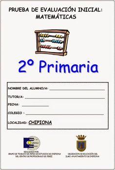 Prueba de Evaluación Inicial del área de Matemáticas para 2º Nivel de Educación Primaria elaborado por los centros de Primaria de Chipiona (Cádiz).