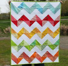 Simple quilting for a zig zag quilt