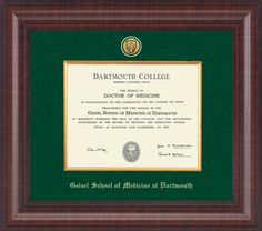 Dartmouth College - Geisel School of Medicine Diploma Frame - Our Presidential Edition features a two-toned medallion of your school seal set into an archival-quality green linen mat. This edition is enhanced with a gold wood fillet and framed in our Premier moulding with a generous Empire profile and an English chestnut finish.