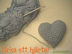 ♥stjernfall♥  crochet heart ~ free pattern (SWE)