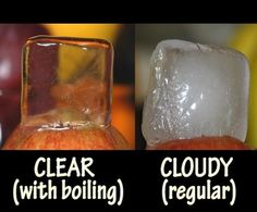 Did you know that you can make crystal clear ice?  Apparently, the process of double boiling filtered water eliminates dissolved air and decompresses minerals in the water. Worth a try I guess for pretty cubes, especially if you're freezing them with fruit for a infused water pitcher this summer!