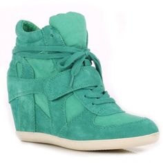 Ash BOWIE peacock suede & canvas high-top wedge trainers