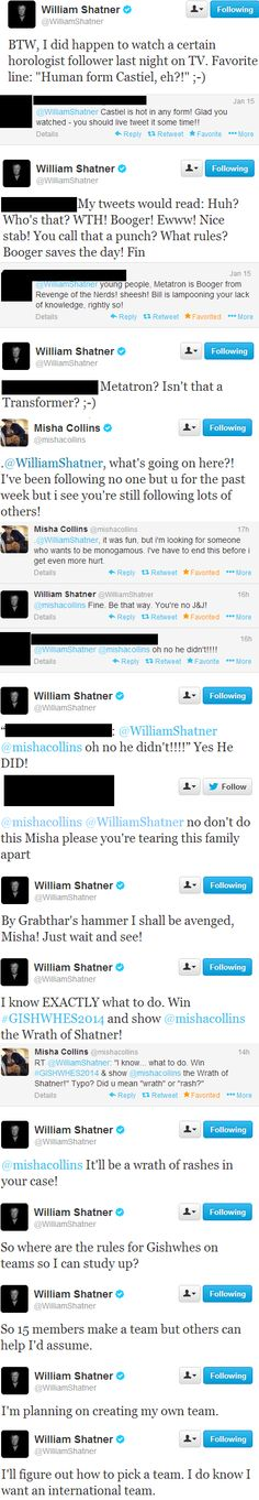 William Shatner and Misha Collins on Twitter; in which Bill watches Supernatural, Misha unfollows him, and Bill swears revenge. These guys..I can't even