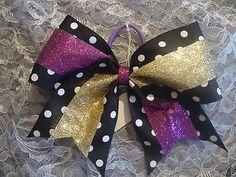 black w/ white polka dot and purple & gold gitter Cheer bow. Large. Cheer Leader