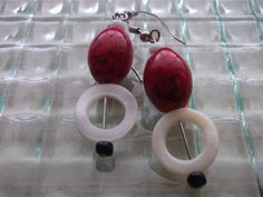 Red Chunky Earrings Red Dangle Earrings Shell Earrings by mscenna, $9.00