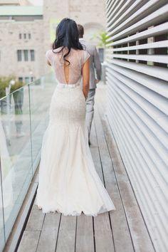Jenny Packham modest wedding dress, low back with open sheer netting