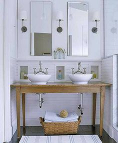 sinks, love the glass above the half wall for the shower. This would lighten our master bath shower.