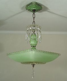 Vintage 30s Jadite Green Art Deco Square Glass Ceiling Light Fixture Chandelier