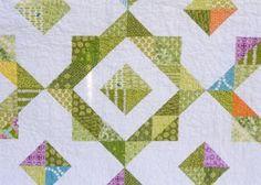 Half square triangles block - pretty colours