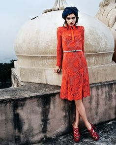 Chantilly Lace Shirtdress, Orange, by Carolina Herrera
