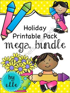 Holiday and Seasonal Printable Pack Mega-Bundle from Elementary Elle on TeachersNotebook.com -  (288 pages)  - This huge bundle includes all 24 of my Holiday and Seasonal Math and Literacy Printable Packs. Topics covered include: letter and word recognition, shape recognition, graphing, telling time, and more!