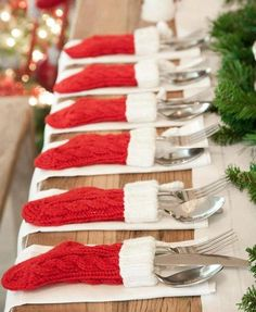 Dollar store stockings as place setting decor (to hold silverware) for Christmas breakfast/dinner... Fun!