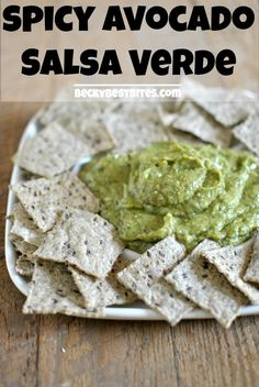 Spicy Avocado Salsa Verde is the perfect addition to a game day spread. A hint of sweet, spicy, creamy, healthy & extremely versatile. Break out the chips! #gamedayfood