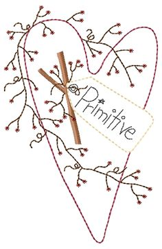 Free Primitive Embroidery Patterns | Primitive Heart with Tag 5x7 : HeartStrings Embroidery, Embroidery ...