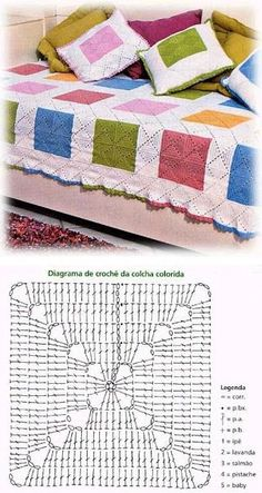 The most basic square used in a fresh way.  I like the color blocks and how they play off the secondary diamond pattern created by the corners of the individual squares.   . . . .   ღTrish W ~ http://www.pinterest.com/trishw/  . . . .  #crochet #afghan #blanket #throw #pillow crochet afghans, basic squar, squar blanket, diamond pattern, crochet squares, pattern creat, individu squar