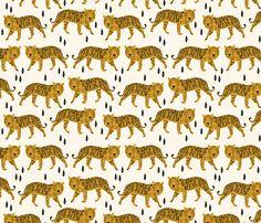 Tigers - Cream/Mustard fabric by andrea_lauren on Spoonflower - custom fabric