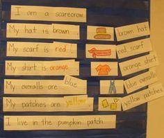 preschool pocket chart ideas, scarecrow, pocket charts