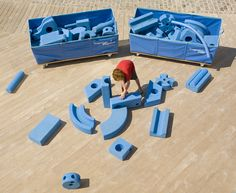 Imagination Playground is a breakthrough play space concept designed by U.S. architect David Rockwell to encourage child-directed, unstructured free play. With a focus on loose parts, Imagination Playground empowers children to manipulate the space around them and design their own course of play.