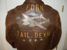 Painted WWII A2 Jacket P38 Lightning Fighter Pilot Jacket