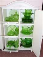 Green Depression Glassware - hey who remembers some of these in the Quaker Oatmeal boxes?