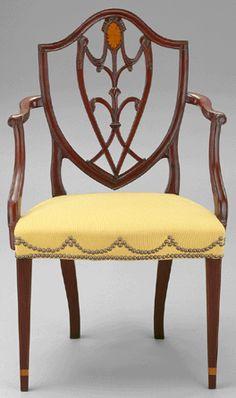 Mahogany and oak American armchair, 1785–1800.