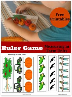Measuring fall objects with one of these printable farm unit rulers is a great math activity.