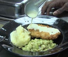 Buttermilk Fried Chicken with Mashed Potatoes and Lima Beans from Twin City Diner