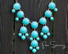 Aqua Statement Bubble Necklace with 26 chain by PureStunning, $20.00
