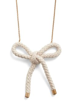 Roped In Necklace - White, Solid, Bows, Casual, Nautical, Gold