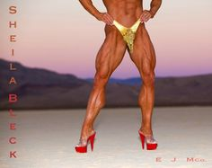 Sheila Bleck IFBB Pro Female Bodybuilders Hot Legs Quads And Calves In High Heels!