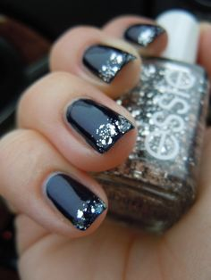 essie midnight cami with essie set in stones on the tips.