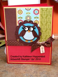 Stampin Up: Owl Builder Punch. Clever owl with glasses!