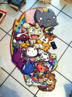 Perler Bead Cats!  Oh wow.. that's a lot of beads and a lot of cats!
