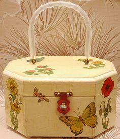 Decoupage Wooden Purse - Jewelry Box - Garden Theme