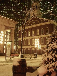 holiday, christmas time, houses, winter, boston, snow, faneuil hall, homes, place