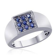 Liquidation Channel | Kanchanaburi Blue Sapphire Men's Ring in Platinum Overlay Sterling Silver (Nickel Free)