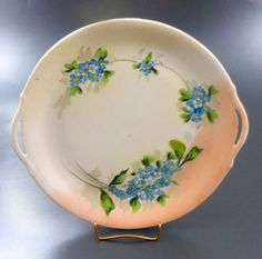 Forget Me Not Open Handled Cake Plate Hand Painted Nippon