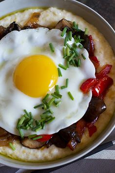 Creamy Polenta with Melted Peppers, Sauteed Mushrooms, and Fried Egg