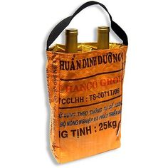 Eco Wine Carrier Recycled Rice Bag STOPstart Cambodia Tote