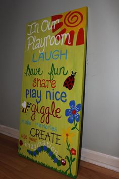 Playroom Rules. Playroom Art. Kids room art. Custom Playroom Sign LARGE 18x36. $100.00, via Etsy. $$ going towards our adoption.