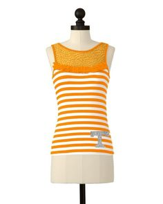 The University of Tennessee Team Striped Mesh Yoke Top in Tennessee Orange