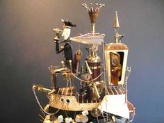VIDEO: The Flying Dutchman - A steampunk automata made from wood, brass and found objects. depicting the Flying Dutchman sailing on a post-apocalyptic concrete sea. Created by Keith Newstead.