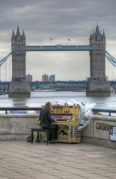 As part of City of London Festival 2011, this artwork piano was available by the riverside for playing free. With the Tower Bridge as background