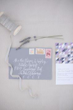 Purple wedding invitations with an modern twist.   Photography: Something Gold Photography - somethinggoldphotography.com
