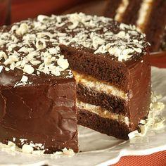 Bananas Foster Fudge Cake (Challenging; 12 to 16 servings) #chocolate #cake