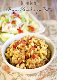 {Freezer Meal} Bacon Cheeseburger Pasta | Plain Chicken