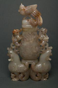 JP: Chinese Old White Jade Carved Phoenix Vase w Lid